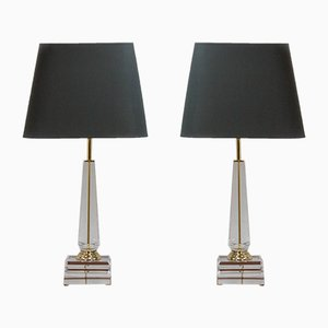 Lampes de Bureau Colonne Hollywood Regency en Acrylique, 1972s, Set de 2