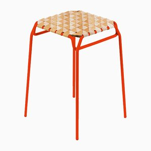 Short Neon Orange Taburet Bar Stool by Anastasiya Koshcheeva for Moya