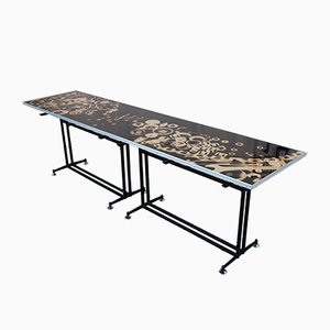 Vintage Glass & Metal Console Table with Graphics