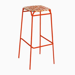 Neon Orange Taburet Bar Stool by Anastasiya Koshcheeva for Moya