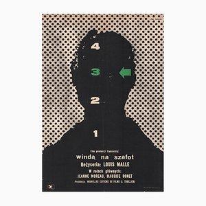 Poster vintage del film Ascensore per il patibolo di Jan Lenica per CWF, Polonia, 1958