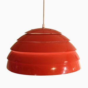 Mid-Century Domus Red Hanging Lamp by Hans Agne Jakobsson for Markaryd