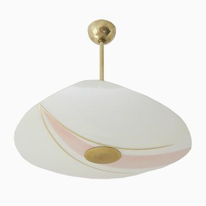 Pastel Glass & Brass Ceiling Lamp, 1950s