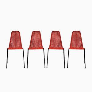 Mid-Century Italian Woven Outdoor Chairs, Set of 4