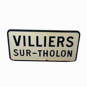 Französisches Vintage Stadtschild aus Emaille
