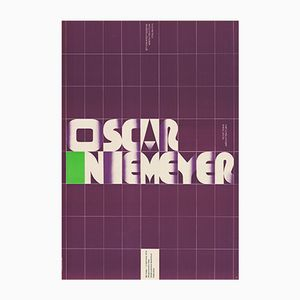 Vintage Polish Oscar Niemeyer Exhibition Poster by Tadeusz Grabowski for WAG, 1973