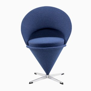 Vintage Blue Cone Chair by Verner Panton
