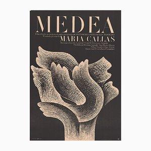 Poster vintage del film Medea di Andrzej Bertrandt per CWF, Polonia, anni '70