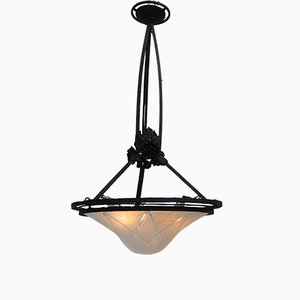 Vintage French Glass & Steel Hanging Lamp, 1930s