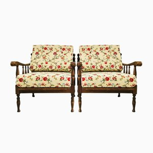 Italian Rustic Armchairs in Floral Gobelin Fabric, 1920s, Set of 2