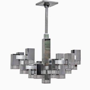 Grand Lustre Vintage Cubique à 17 Ampoules par Gaetano Sciolari, 1970s