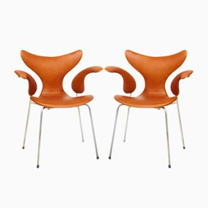 Leather Lily Chairs by Arne Jacobsen for Fritz Hansen, 1978, Set of 2