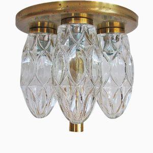 Vintage Glass & Brass Ceiling Light from Hillebrand Lighting, 1974