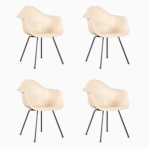 Parchment DAX Dining Chairs by Charles & Ray Eames for Herman Miller, 1950s, Set of 4