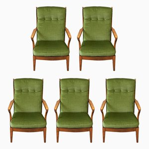 Swedish High Back Armchairs, 1960s, Set of 5