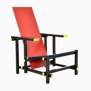 635 Red and Blue Chair by Gerrit Rietveld for Cassina, 1980s