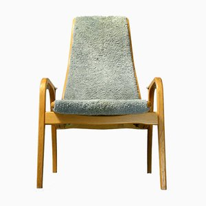 Vintage Lamino Sheepskin Lounge Chair by Yngve Ekström for Swedese, 1980s