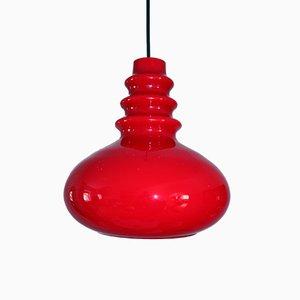 Lampada da soffitto vintage in vetro rosso di Peill & Putzler, anni '60