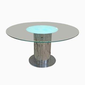 Mesa de comedor italiana vintage con base de acero inoxidable y superficie de vidrio, años 70