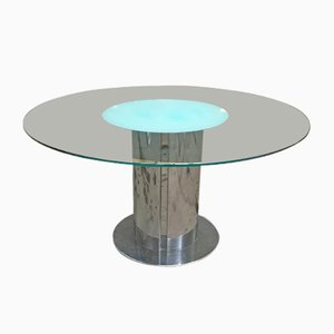 Vintage Italian Dining Table with Stainless Steel Base and Glass Top, 1970s