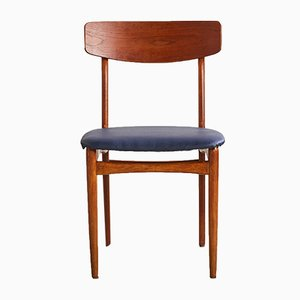 Sedia in teak ed ecopelle blu, anni '60