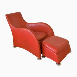 Leather Loge Lounge Chair with Ottoman by Gerard van den Berg for Montis, 1980s