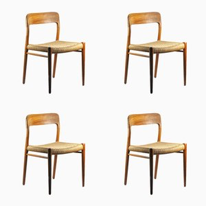 Model 75 Teak & Raffia Chairs by Niels Moller, Set of 4