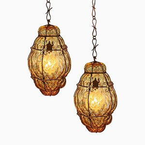 Caged Murano Glass Lanterns, 1930s, Set of 2