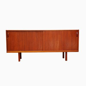 Mid-Century Swedish Teak Sideboard with Sliding Doors from Ulferts Möbler
