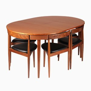Mesa de comedor extensible con seis sillas de Hans Olsen para Frem Røjle, años 50