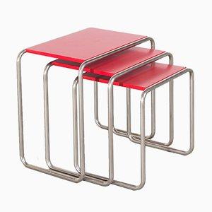Tables Gigognes B9 Bauhaus par Marcel Breuer, Set de 3