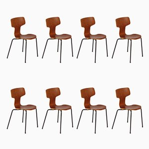 Danish T-Chair or Hammer Chair by Arne Jacobsen for Fritz Hansen, Set of 8