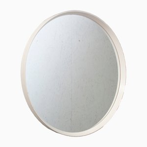 Mid-Century Round Mirror with White Frame