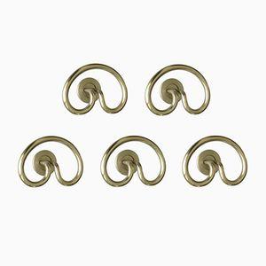 Supports à Chapeaux Samo Vintage en Laiton Plaqué Nickel Mat par Sergio Mazza pour Artemide, Set de 5