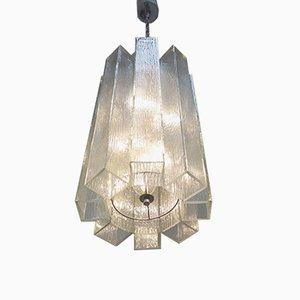 Lámpara colgante de vidrio de Doria, años 70