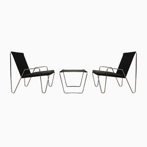Mid-Century Pair of Bachelor Armchairs & Ottoman by Verner Panton for Fritz Hansen