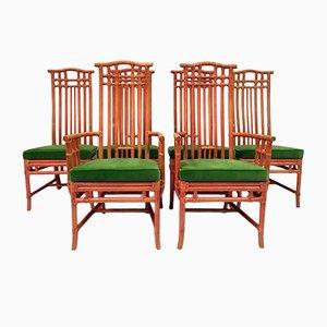 Sillas de comedor vintage de bambú rojo y terciopelo verde de Mcguire. Juego de 6