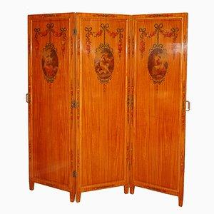 Paravent Antique avec Miroirs et Décorations Polychromes