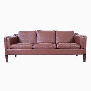 Dänisches Mid-Century Sofa mit 3 Sitzen aus Braunem Leder