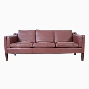 Mid-Century Danish 3-Seater Brown Leather Sofa