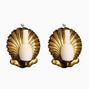 Applique vintage a forma di conchiglia in ottone di Arredoluce, Italia, anni '50, set di 2