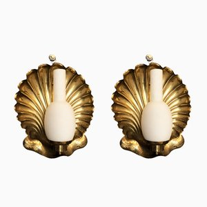 Vintage Italian Brass Shell Sconces from Arredoluce, 1950s, Set of 2