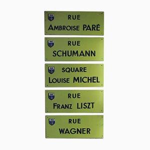 Französisches Vintage Straßenschild Set