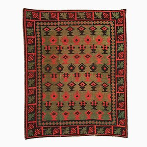 19th Century Spanish Green, Red & Black Wool Alpujarra Rug