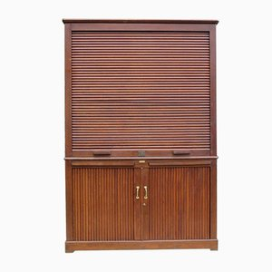 Art Deco French Oak Notary Tambour Cabinet from Maurice Lacour