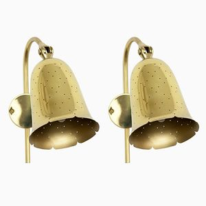 Vintage Swedish Brass Wall Lamps from Boréns, 1950s, Set of 2