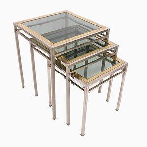 Tavoli ad incastro in ottone, metallo e vetro fumè, anni '70