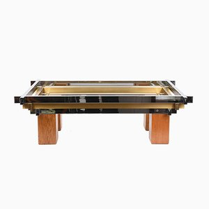 Italian Coffee Table in Chromed Brass and Wood, 1970s