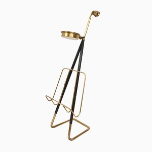 Mid-Century Brass Magazine Rack with Ashtray by Carl Auböck, 1950s