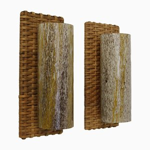 Luces de pared de ratán trenzado de Doria Leuchten, años 60. Juego de 2